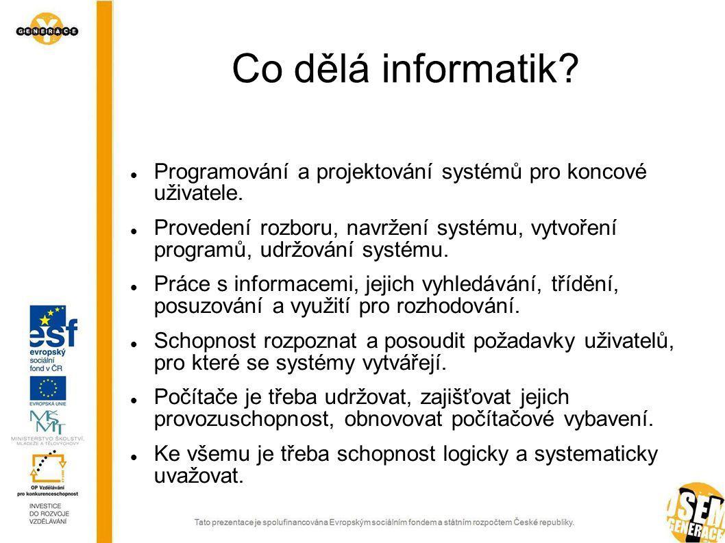 Co dělá informatik Programování a projektování systémů pro koncové uživatele.