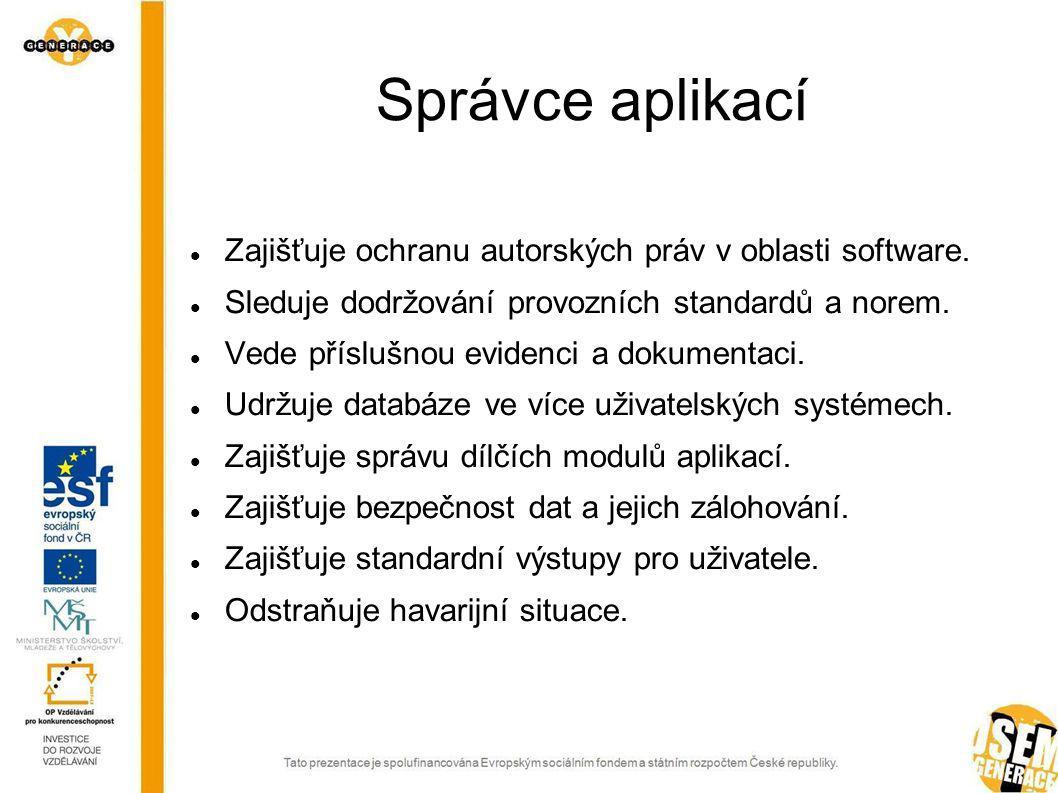 Správce aplikací Zajišťuje ochranu autorských práv v oblasti software.