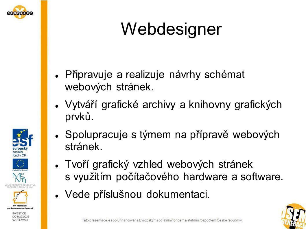 Webdesigner Připravuje a realizuje návrhy schémat webových stránek.