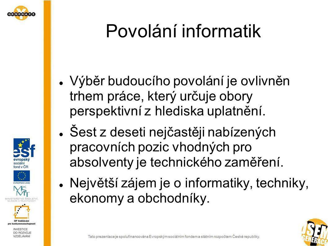 Povolání informatik Výběr budoucího povolání je ovlivněn trhem práce, který určuje obory perspektivní z hlediska uplatnění.