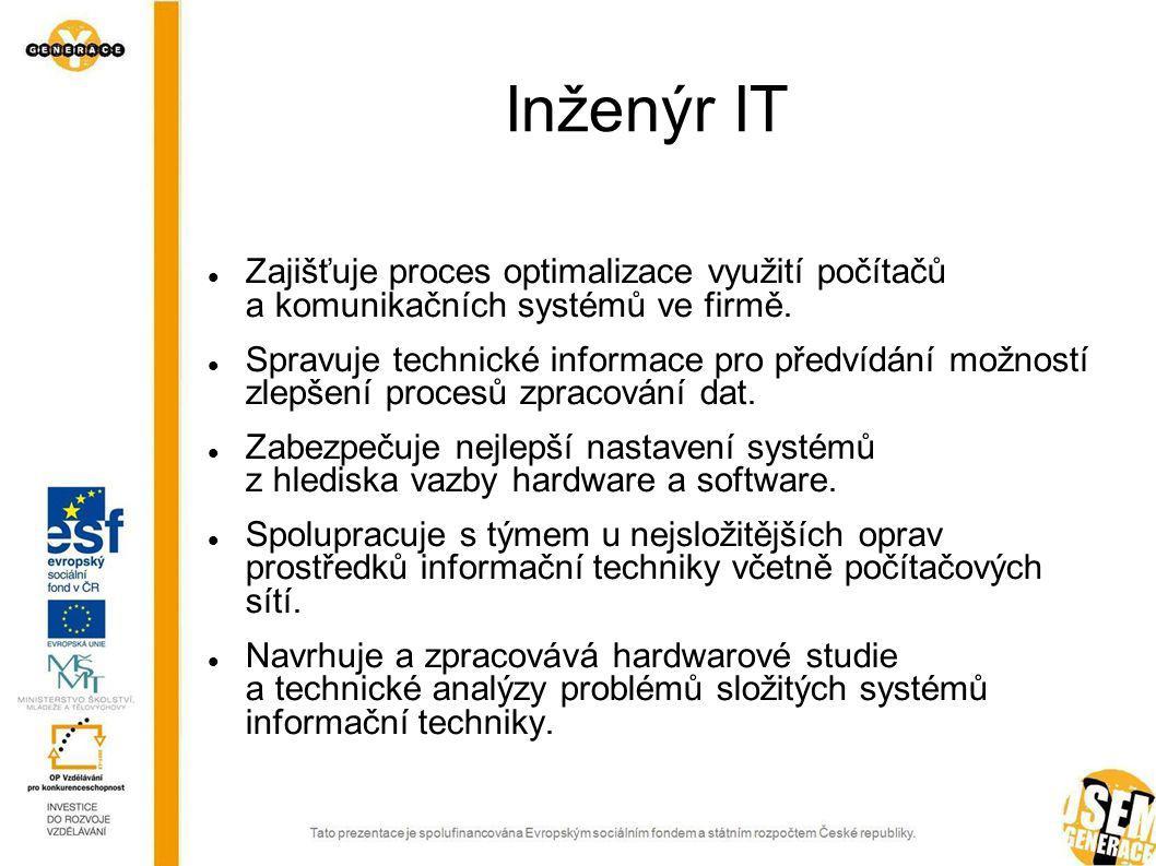 Inženýr IT Zajišťuje proces optimalizace využití počítačů a komunikačních systémů ve firmě.