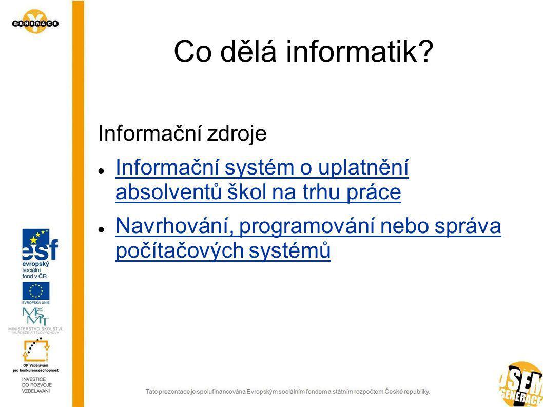 Co dělá informatik Informační zdroje