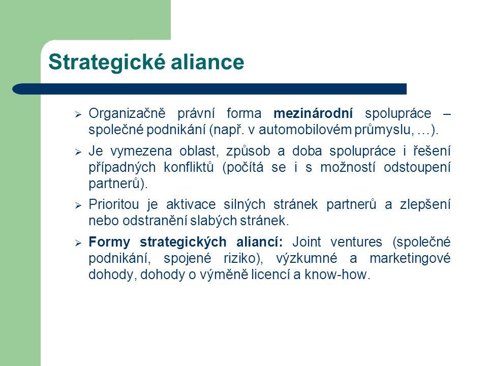 Strategické aliance Organizačně právní forma mezinárodní spolupráce – společné podnikání (např. v automobilovém průmyslu, …).