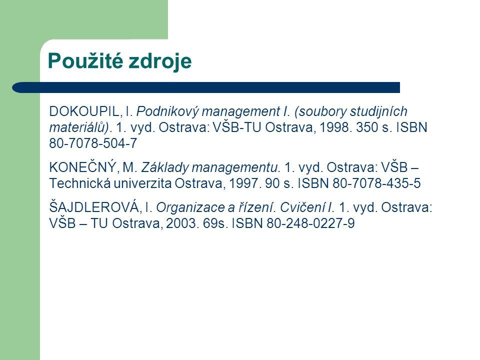 Použité zdroje DOKOUPIL, I. Podnikový management I. (soubory studijních materiálů). 1. vyd. Ostrava: VŠB-TU Ostrava, 1998. 350 s. ISBN 80-7078-504-7.