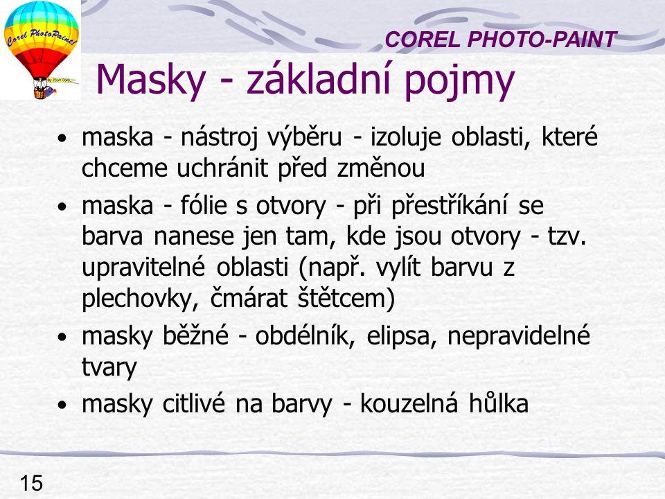 Masky - základní pojmy maska - nástroj výběru - izoluje oblasti, které chceme uchránit před změnou.