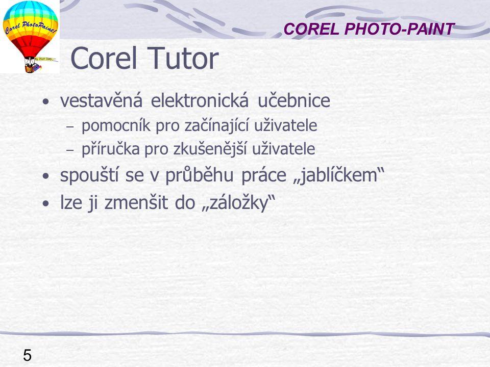 Corel Tutor vestavěná elektronická učebnice