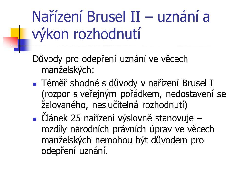 Nařízení Brusel II – uznání a výkon rozhodnutí