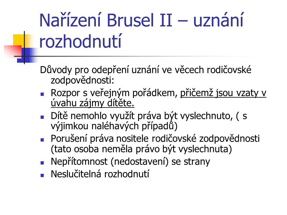 Nařízení Brusel II – uznání rozhodnutí