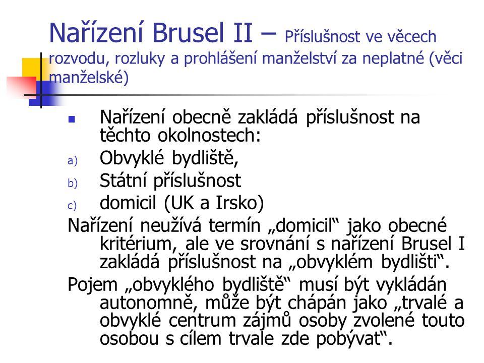 Nařízení Brusel II – Příslušnost ve věcech rozvodu, rozluky a prohlášení manželství za neplatné (věci manželské)