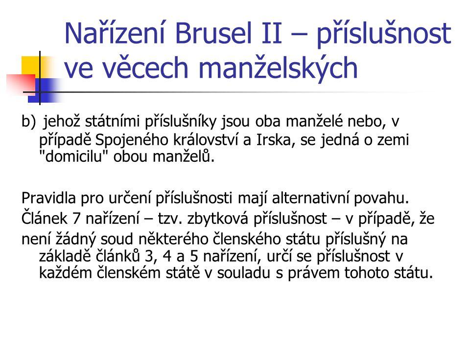Nařízení Brusel II – příslušnost ve věcech manželských