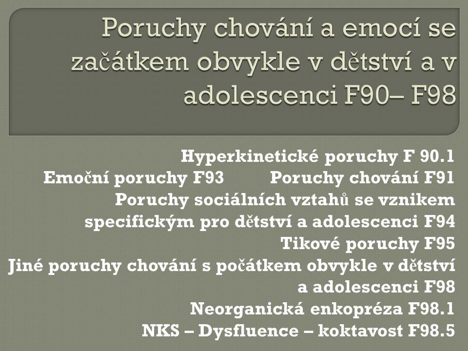 Poruchy chování a emocí se začátkem obvykle v dětství a v adolescenci F90– F98