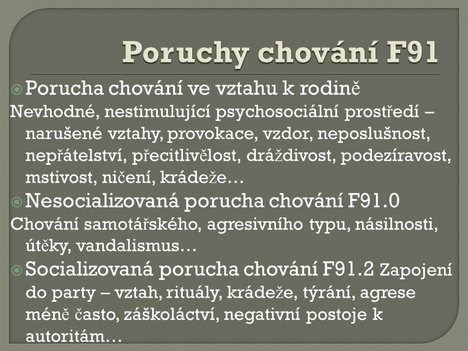 Poruchy chování F91 Porucha chování ve vztahu k rodině