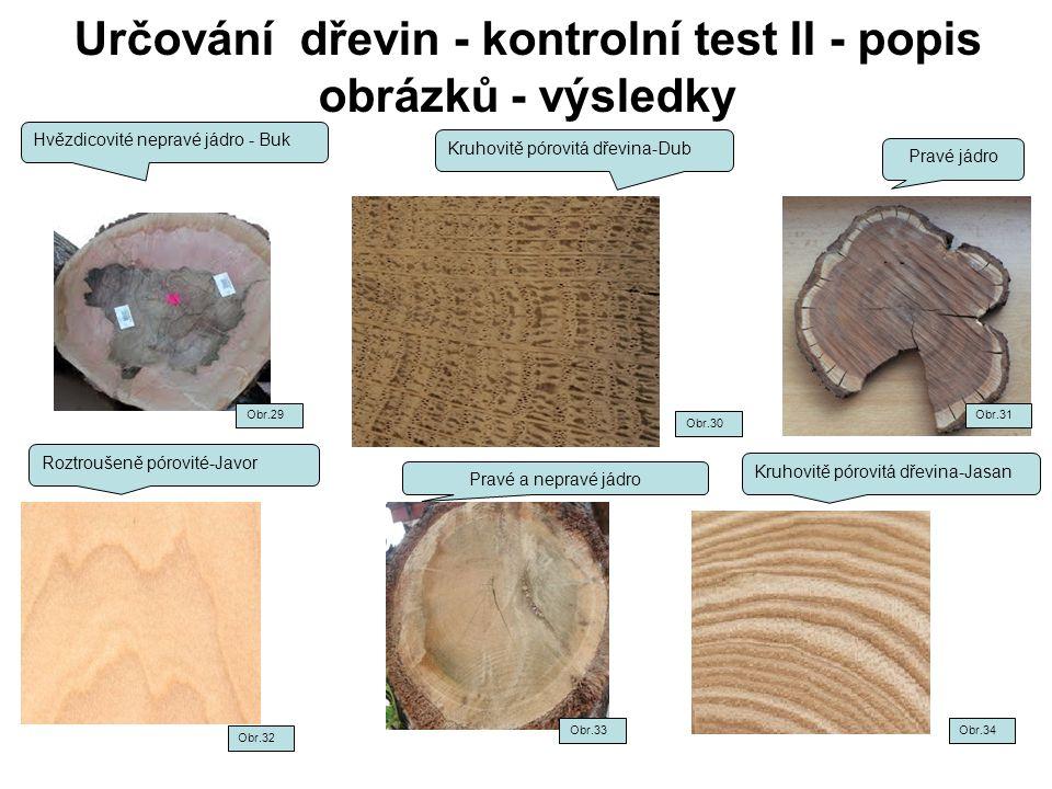 Určování dřevin - kontrolní test II - popis obrázků - výsledky