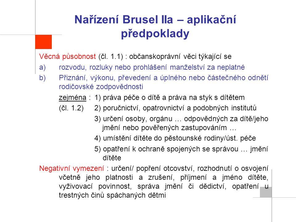 Nařízení Brusel IIa – aplikační předpoklady