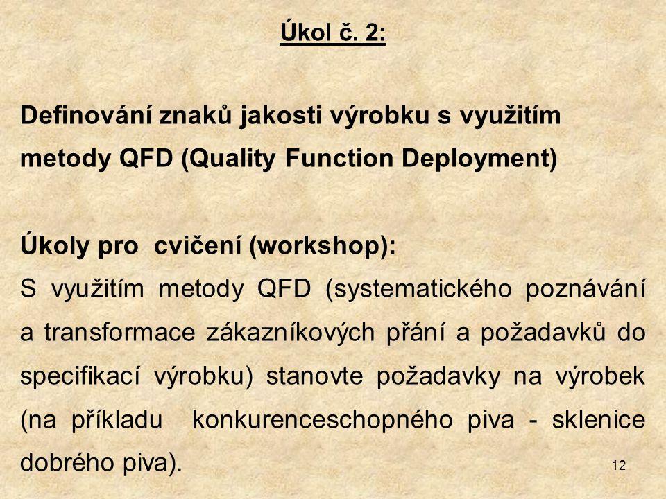 Úkoly pro cvičení (workshop):