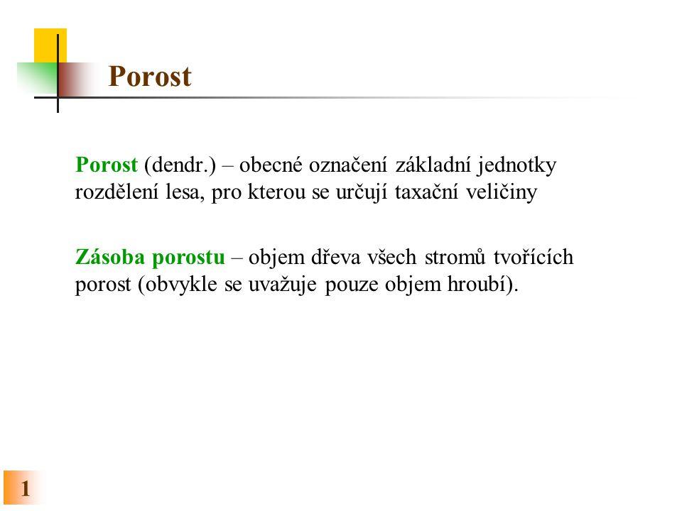 Porost Porost (dendr.) – obecné označení základní jednotky rozdělení lesa, pro kterou se určují taxační veličiny.