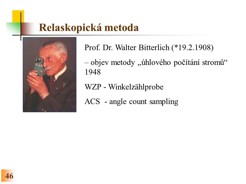 Relaskopická metoda Prof. Dr. Walter Bitterlich (*19.2.1908)