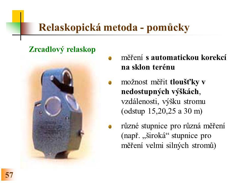 Relaskopická metoda - pomůcky