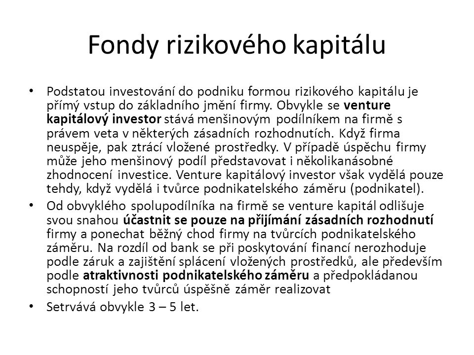 Fondy rizikového kapitálu