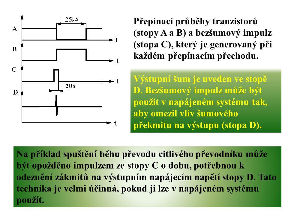 Přepínací průběhy tranzistorů (stopy A a B) a bezšumový impulz (stopa C), který je generovaný při každém přepínacím přechodu.