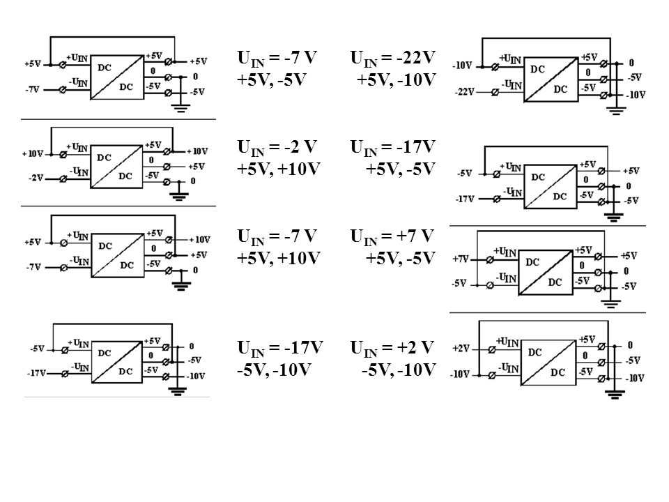 UIN = -7 V UIN = -22V +5V, -5V +5V, -10V. UIN = -2 V UIN = -17V. +5V, +10V +5V, -5V.