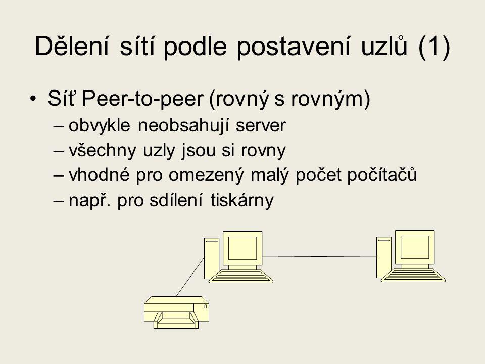Dělení sítí podle postavení uzlů (1)