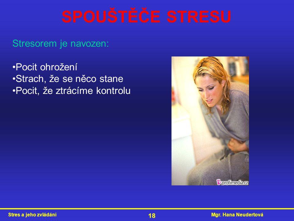 SPOUŠTĚČE STRESU Stresorem je navozen: Pocit ohrožení