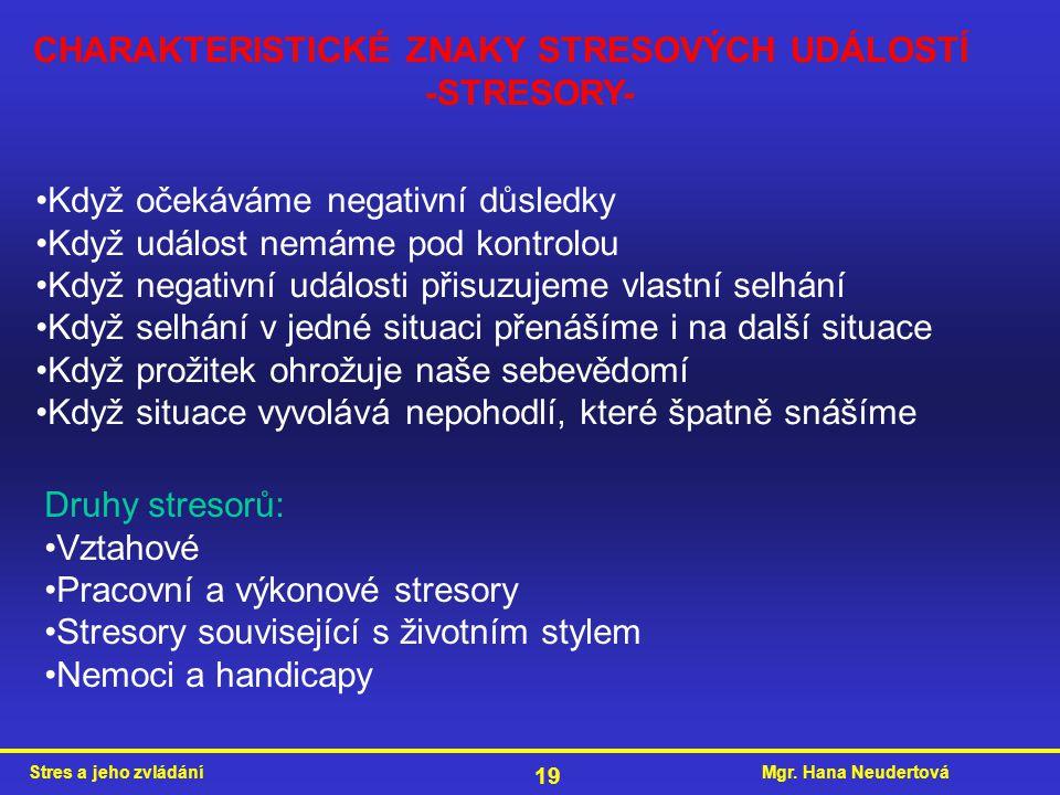 CHARAKTERISTICKÉ ZNAKY STRESOVÝCH UDÁLOSTÍ -STRESORY-