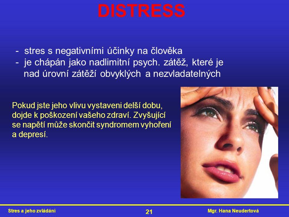 DISTRESS - stres s negativními účinky na člověka