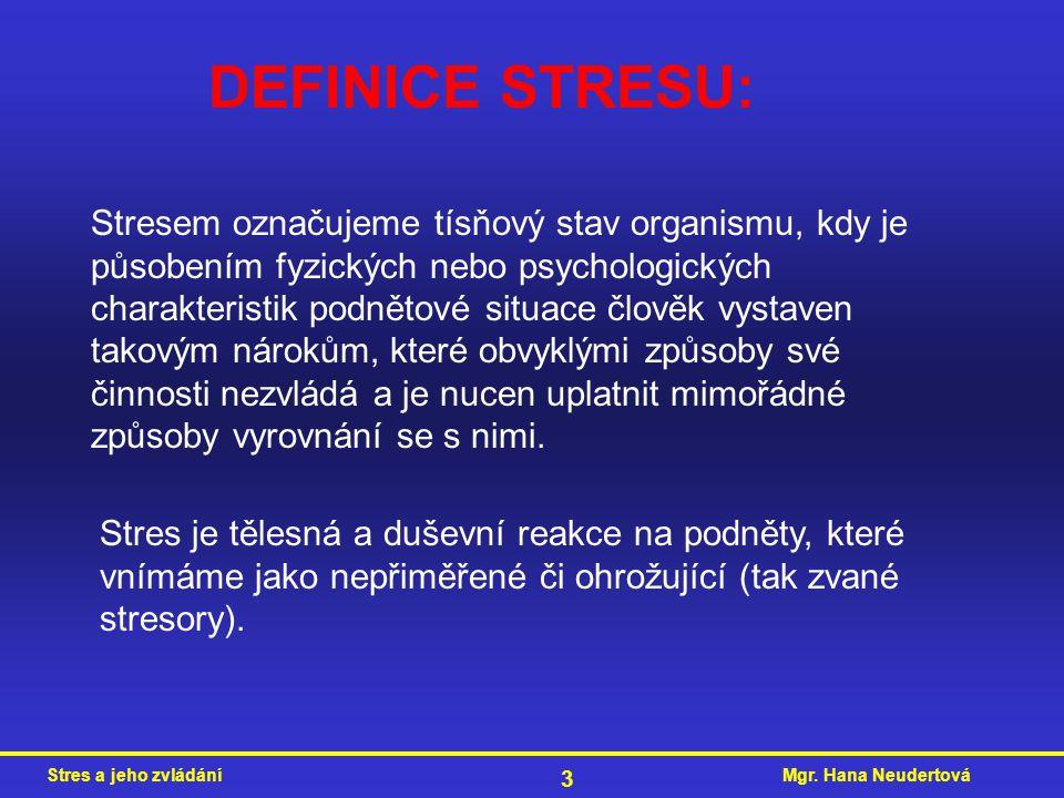 DEFINICE STRESU: Stresem označujeme tísňový stav organismu, kdy je