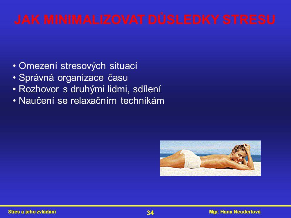 JAK MINIMALIZOVAT DŮSLEDKY STRESU