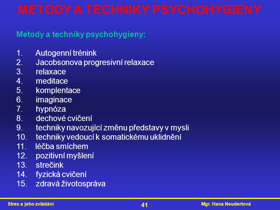 METODY A TECHNIKY PSYCHOHYGIENY