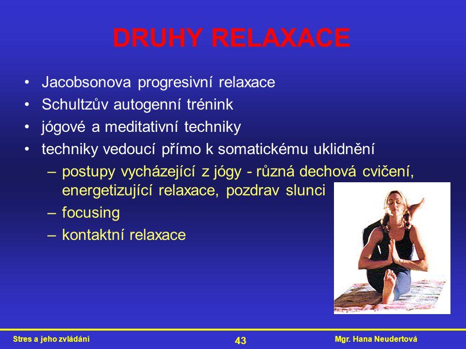 DRUHY RELAXACE Jacobsonova progresivní relaxace