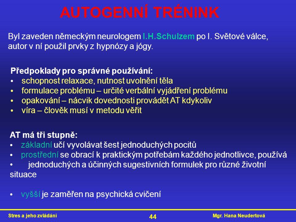 AUTOGENNÍ TRÉNINK Byl zaveden německým neurologem I.H.Schulzem po I. Světové válce, autor v ní použil prvky z hypnózy a jógy.