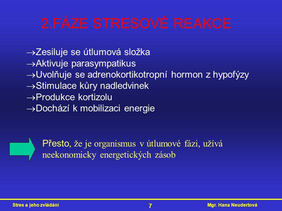 2.FÁZE STRESOVÉ REAKCE Zesiluje se útlumová složka