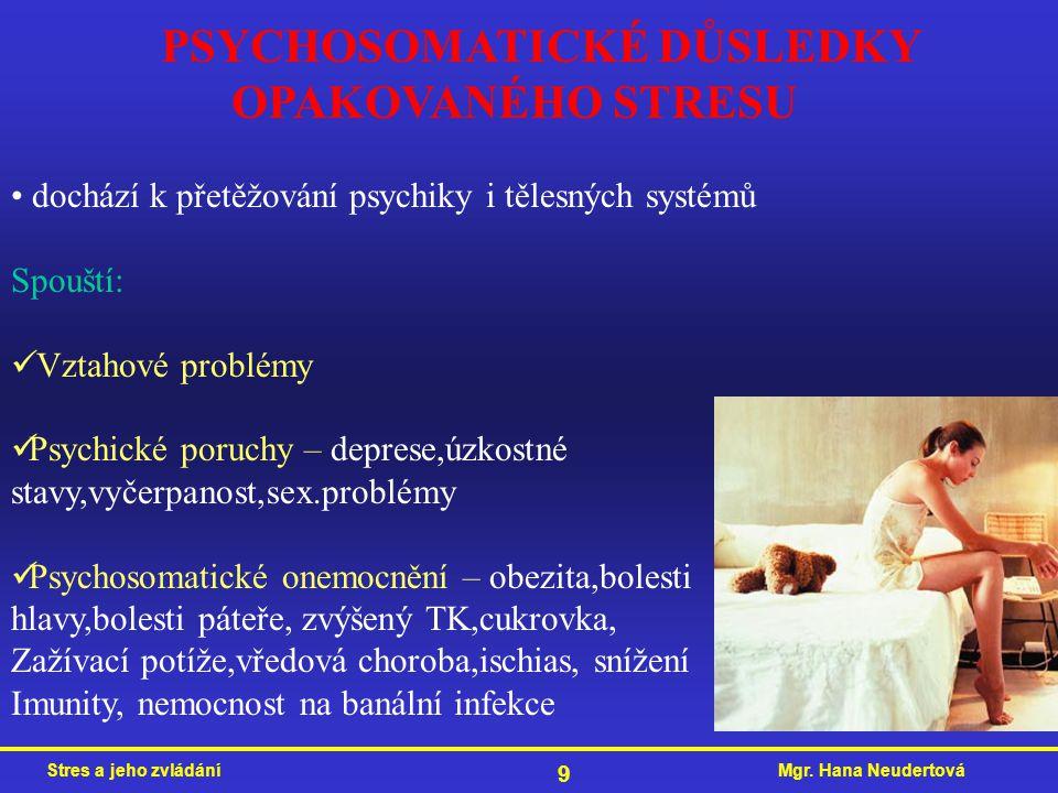 PSYCHOSOMATICKÉ DŮSLEDKY OPAKOVANÉHO STRESU