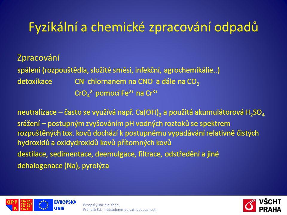 Fyzikální a chemické zpracování odpadů