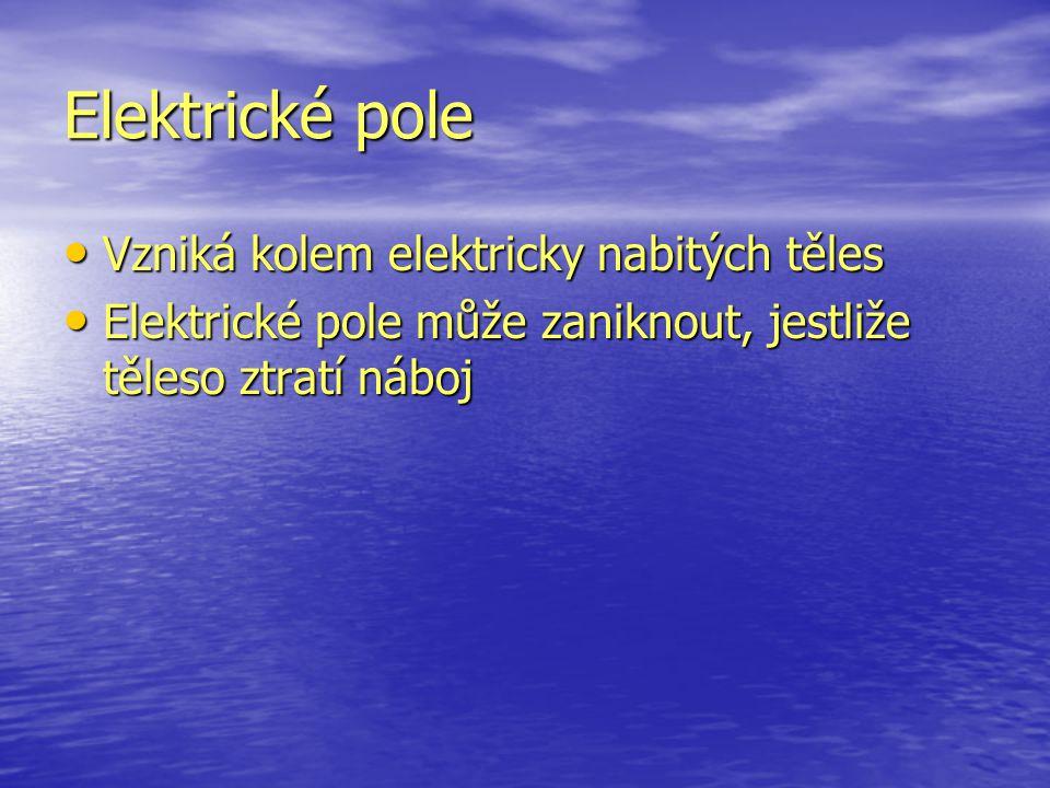 Elektrické pole Vzniká kolem elektricky nabitých těles