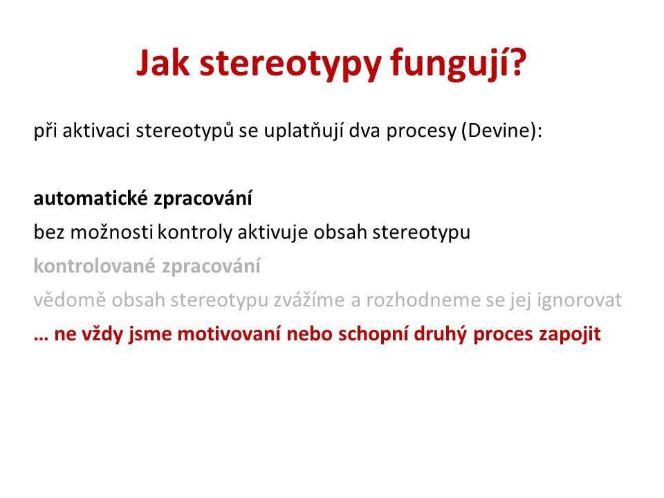 Jak stereotypy fungují
