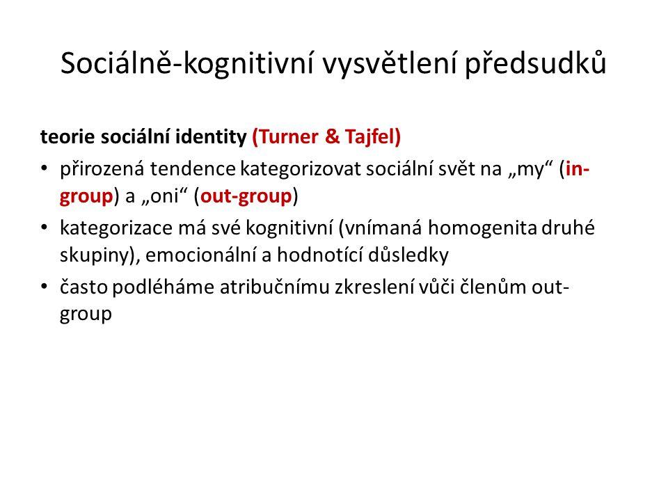 Sociálně-kognitivní vysvětlení předsudků