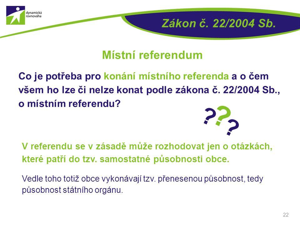 Zákon č. 22/2004 Sb. Místní referendum