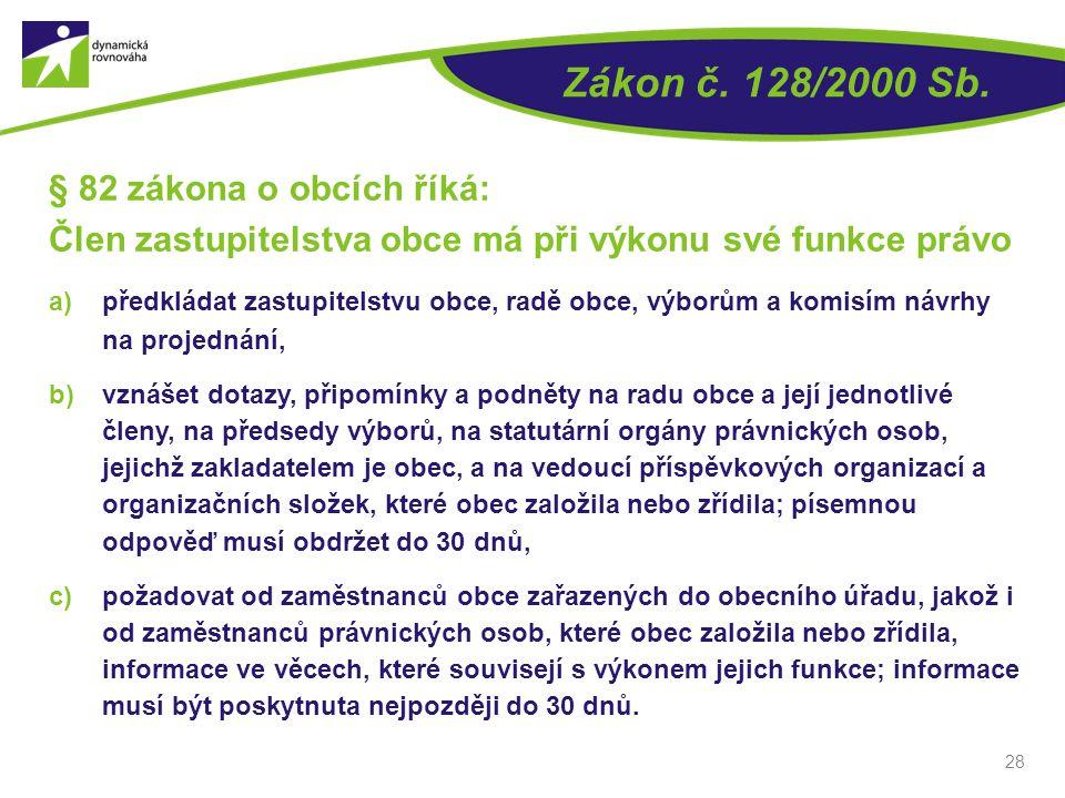 Zákon č. 128/2000 Sb. § 82 zákona o obcích říká: