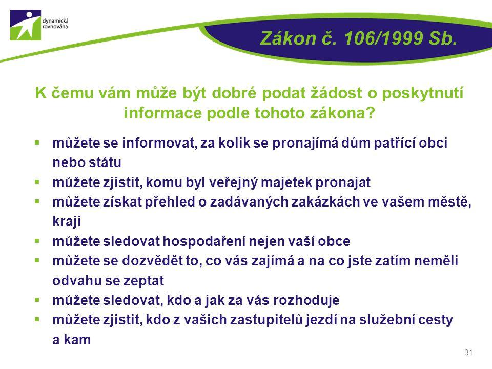 Zákon č. 106/1999 Sb. K čemu vám může být dobré podat žádost o poskytnutí. informace podle tohoto zákona