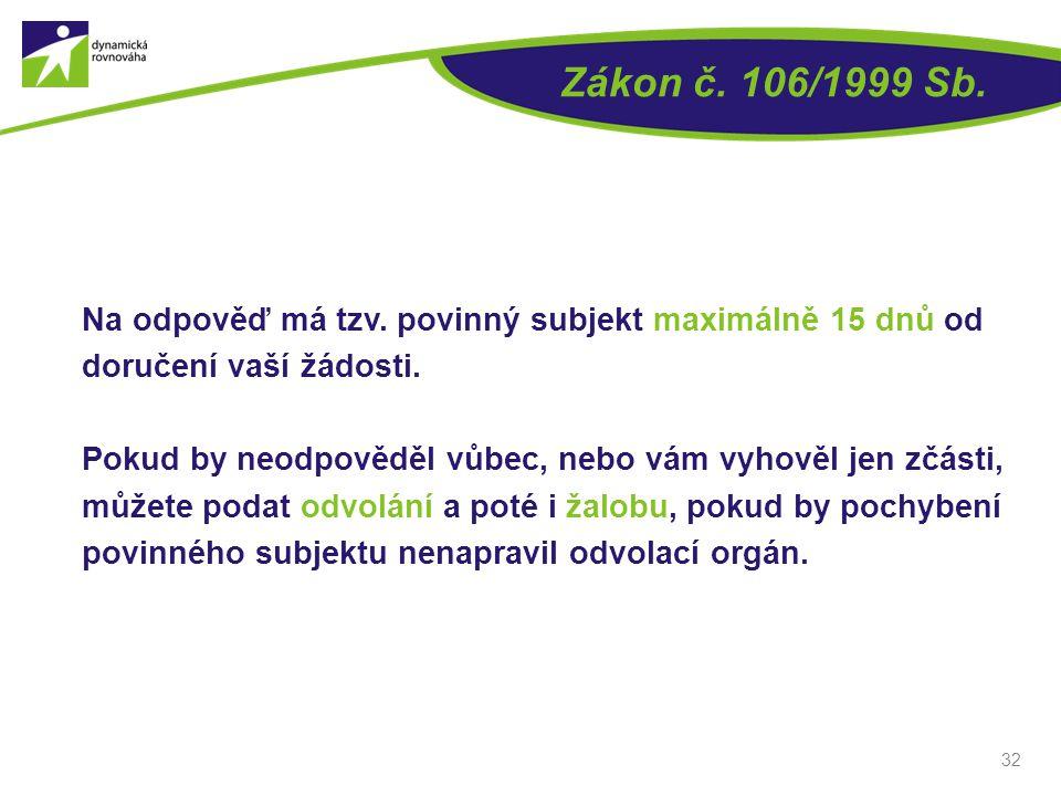 Zákon č. 106/1999 Sb. Na odpověď má tzv. povinný subjekt maximálně 15 dnů od doručení vaší žádosti.