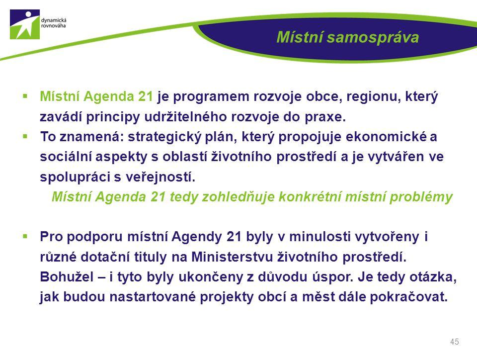 Místní samospráva Místní Agenda 21 je programem rozvoje obce, regionu, který zavádí principy udržitelného rozvoje do praxe.