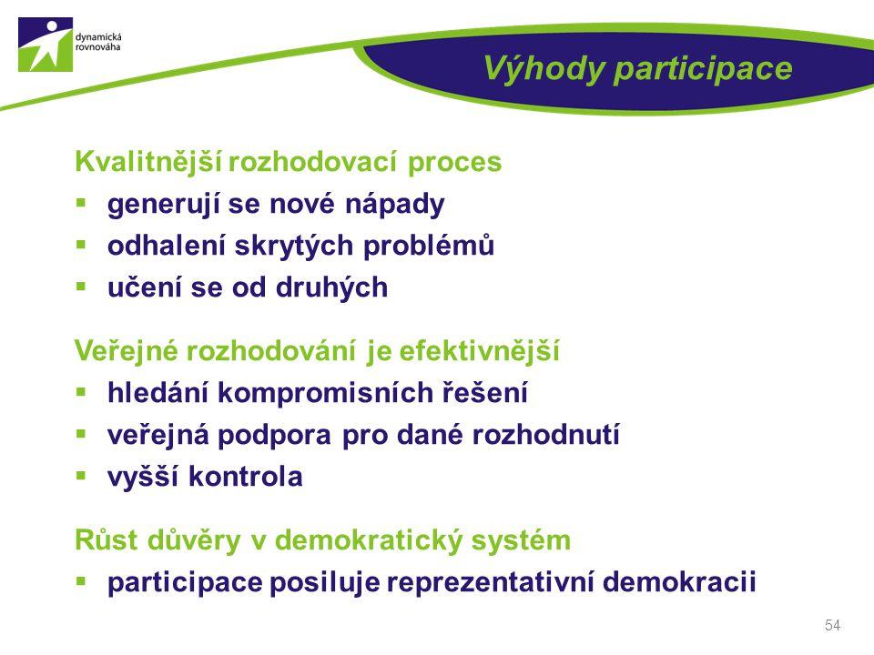 Výhody participace Kvalitnější rozhodovací proces