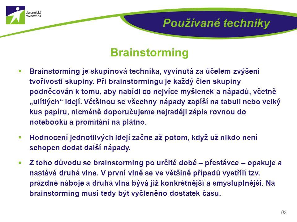 Používané techniky Brainstorming