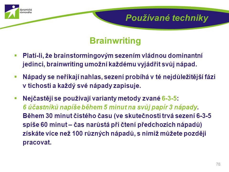 Používané techniky Brainwriting