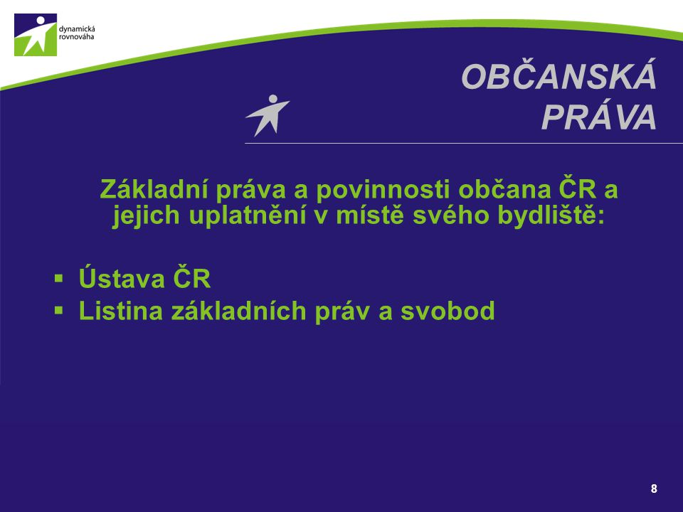 Občanská práva Základní práva a povinnosti občana ČR a jejich uplatnění v místě svého bydliště: Ústava ČR.