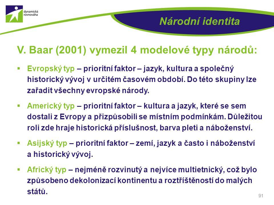 V. Baar (2001) vymezil 4 modelové typy národů: